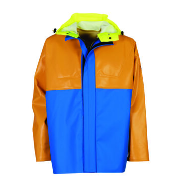 Yellow and orange Guy Cotten waterproof jacket